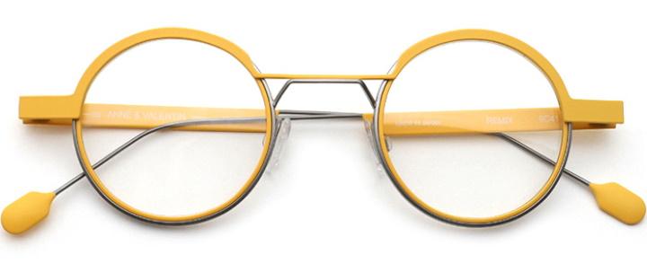 Lunettes en métal jaune de la marque Anne et Valentin